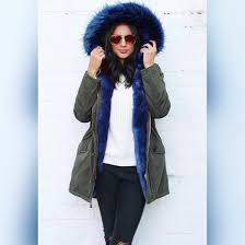 coat one nation clothing parka blue fur fur trim parka khaki parka coat coloured fur coat wheretoget