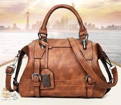 home women cross bags boston shape vintage leather luxury brand handbag