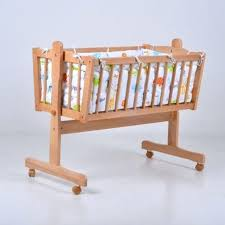 export solid wood white color baby cradle with bedding set crib sets