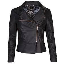 ted baker womens black lizia leather biker jacket