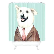 dog shower curtain animal crew happy sausage