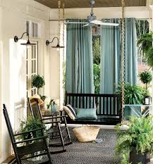 outdoor dry in spa gives this porch privacy and personality rope on swing chains