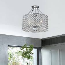 crystal chandelier flush mount light chrome small elton collection 3