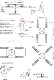 technical drawing for ergotron 45 268 026 lx hd wall mount swing arm