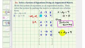 ex 3 solve a system of two equations using an augmented matrix reduced row echelon form
