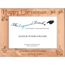 Christmas Personalised Wooden Photo Frame 5x7 Rustic Maple Wood