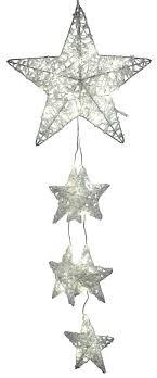Dekojohnson Led Fensterdeko Weihnachten Metall Stern Girlande Mit Weissem Geeistem Acryl 40 Led Lampen Fensterschmuck Beleuchtet 30x90cm Gross