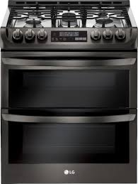 lg 6 9 cu ft self cleaning slide in double oven gas