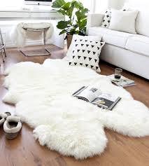 wondrous white sheepskin rug stylist and luxury quad 4 pelt ivory lambskin x 6 5ft