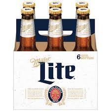 Miller Light Six Pack Miller Lite Beer American Lager 6 Pack Light Beer 12 Fl Oz Bottles 4 2 Abv Walmart Com