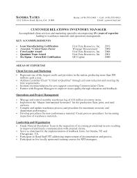 Resume Inventory Resume Samples