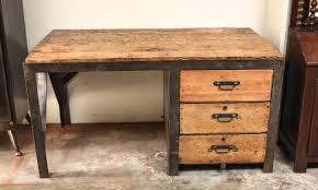 19th century desk in metal with wood top and drawers