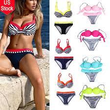 <b>Summer Sexy Triangle</b> Swimsuit <b>Women's</b> Bikini Set Push-up Bras ...