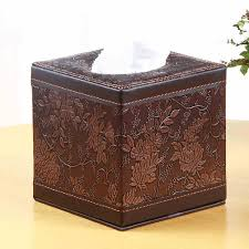 office paper holder. Home Decor Office Leather Tissue Box Square Roll Cover MDF Structure Napkin Towel Paper Holder