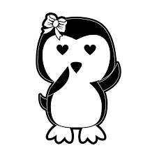 girl penguin clip art black and white.  Art Girl Penguin With Heart Eyes Cute Animal Cartoon Icon Image Vector  Illustration Design Black And White To Girl Penguin Clip Art Black And White I