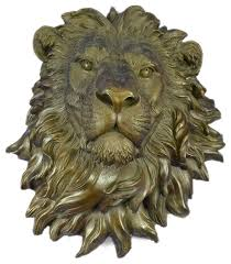 signed original large wall mount lion head bust bronze sculpture figurine figure