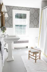 Image Wall Tiles Budget Bathroom Remodel With Ceramic Tile Floors Painted Gray And Walls Stenciled To Look Like Driven By Decor How Painted Our Bathrooms Ceramic Tile Floors Simple and