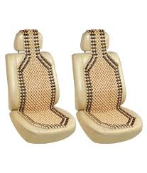 g king beige car wooden bead seat cover set of 2