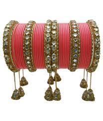 Bridal Bangle Set Designs My Design Pink And Golden Lac Bridal Bangle Set Buy My