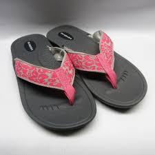 Okabashi Sandals Women Indigo Flip Flops In Slate Pink Floral Cabaline