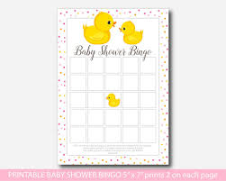 Rubber Ducky Baby Bingo Game Duck Shower Cards Party City Pictures
