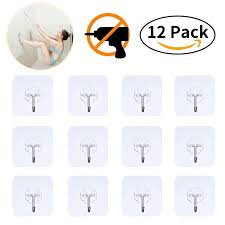 12pcs wall hooks adhesive wall hanging hooks stick on hooks ceiling hanger damage free hanging