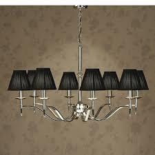 8 light chandelier with black shades