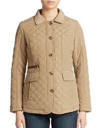 lyst jones new york quilted jacket in natural