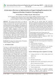 Pdf A Literature Review On Optimization Of Input Cutting