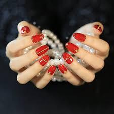 539 24ks Zářivé červené Zlato Nýtování Na Nehty Proužky Zralé A Elegantní A Sexy Móda Jeden Set