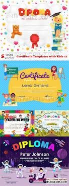 Дипломы и сертификаты в векторе скачать бесплатно Сертификаты и дипломы для детей векторный клипарт certificate templates kids 11