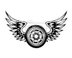 Fototapeta Křídla A Chopper Kola Tetování