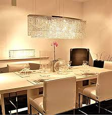 kitchen chandelier lighting. Siljoy Modern Crystal Chandelier Lighting Rectangular Oval Pendant Lights For Dining Room Kitchen Island L 37.4\u0026quot