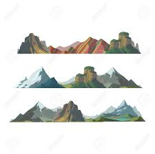 outdoor nature mountains. Mountain Vector Illustration. Nature Silhouette Elements. Outdoor Icon Snow Ice Tops, Mountains O