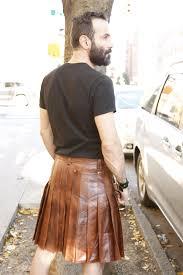 mens cowhide leather kilt back