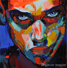2019 hand painted palette knife painting portrait palette knife francoise nielly man face abstract oil painting impasto figure on canvas new from hongyiart