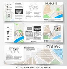 Set Of Business Templates For Square Tri Fold Brochures Leaflet Cover Easy Editable Layout City Map With Streets Flat Design Template Tourism