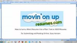 Resume Plain Text Example Good Resume Template