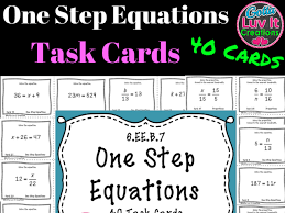 solving equations one step equations no negatives 40 task cards