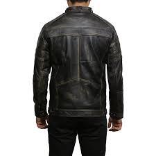 men s black warm leather biker jacket vintage retro distressed leather jacket