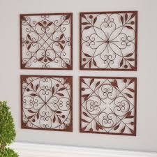 >metal wall art 4 piece wall d cor set