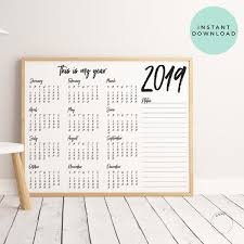 Year At A Glance Calendars This Is My Year 2019 Office Calendar Year At A Glance Desk Calendar Full Year Printable My Year 2019 Yearly Calendar Yearly Agenda