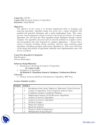 Design And Analysis Of Algorithms Mit Course Outline Design And Analysis Of Algorithms Handout