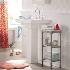 bathroom storage under sink. Choose Traditional Pedestal Sink Storage For Old Fashioned Bathroom With Grey Shelves On Flooring Under T
