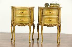 Antique Night Stands Pair Of Marble Top 1930s Vintage Hand Painted End Tables Or