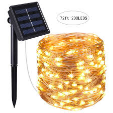 solar string lights 72ft 200 led solar fairy lights with 8 modes 3 strands copper wire warm white