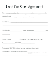 Used Car Sale Agreement Template Personal Agreement Contract Template