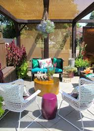eclectic outdoor furniture. Colorful Eclectic Patio Courtyard With Hanging Orbs Outdoor Furniture O