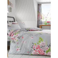 alice fl double duvet cover and pillowcase set grey and pink