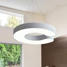black white acrylic round eclipse shaped led pendant lighting 25w 38w energy saving